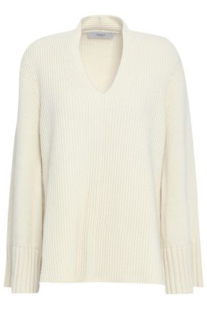 PRINGLE OF SCOTLAND Ribbed-knit wool and cashmere-blend sweater