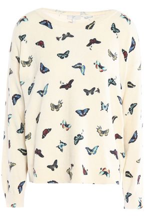 JOIE Printed cotton and cashmere-blend sweater