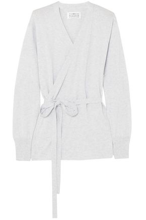 MAISON MARGIELA Suede-appliquéd cotton wrap cardigan