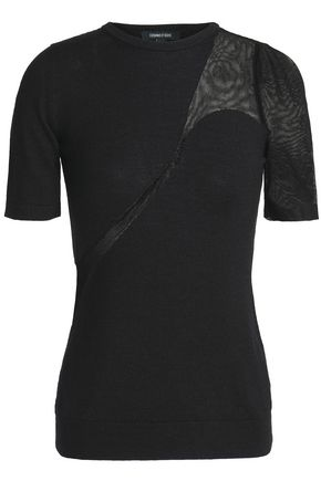 Mesh Paneled Wool, Silk And Cashmere Blend Top by Cushnie Et Ochs
