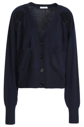CHLOÉ Lace-paneled wool cardigan