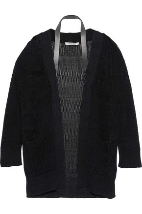 ROBERTO CAVALLI Leather-trimmed open-knit silk cardigan