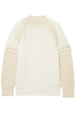 SACAI Two-tone paneled cotton-blend sweater