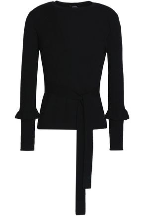 RAOUL Ruffle-trimmed ribbed wool top