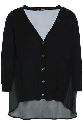 RAOUL Chiffon-paneled silk and wool-blend cardigan