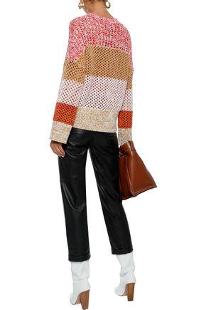 DEREK LAM 10 CROSBY Color-block open-knit cotton-blend sweater
