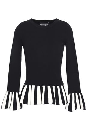 BOUTIQUE MOSCHINO Striped stretch-knit top