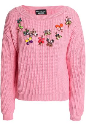 BOUTIQUE MOSCHINO Appliquéd ribbed-knit wool sweater