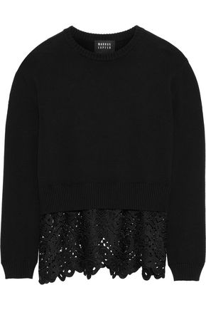 MARKUS LUPFER Megan guipure lace-paneled cotton sweater