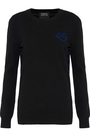 MARKUS LUPFER Natalie paneled intarsia wool and cashmere-blend sweater