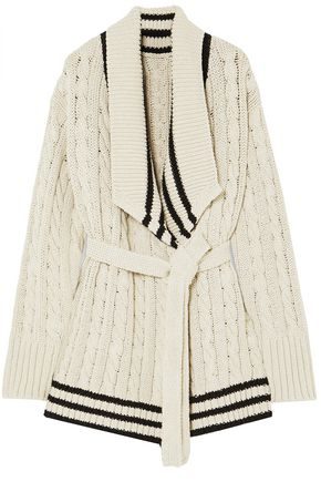 MAISON MARGIELA Cable-knit cotton and linen-blend cardigan