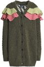 BOUTIQUE MOSCHINO Ruffled open and ribbed-knit cardigan