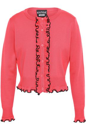 BOUTIQUE MOSCHINO Ruffle-trimmed wool cardigan