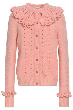 PHILOSOPHY di LORENZO SERAFINI Ruffle-trimmed pointelle-knit wool-blend cardigan