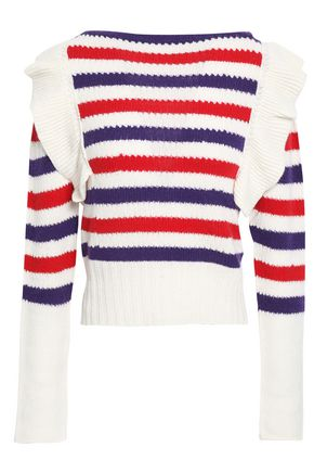 PHILOSOPHY di LORENZO SERAFINI Ruffled striped pointelle-knit cashmere sweater