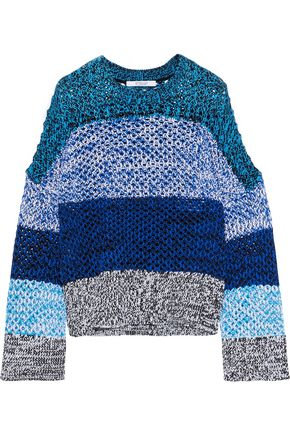 DEREK LAM 10 CROSBY Color-block open-knit cotton-blend sweater