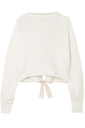 ADEAM Tie-detailed cropped cotton-blend sweater