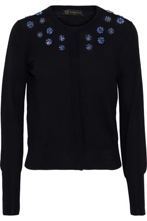 VERSACE Crystal-embellished wool cardigan