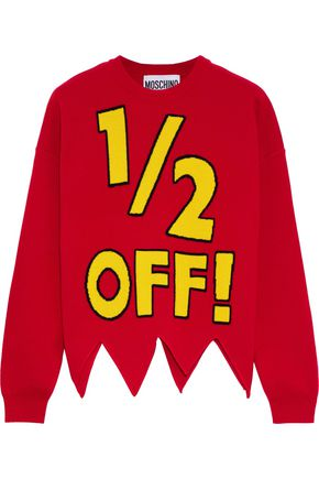 MOSCHINO Asymmetric intarsia wool sweater