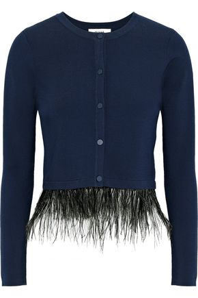 MILLY Feather-trimmed stretch-knit cardigan