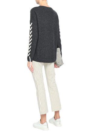 CHARLI Soraya lace-up waffle-knit sweater