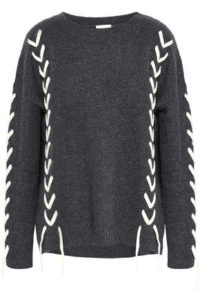 CHARLI Soraya lace-up waffle-knit sweater