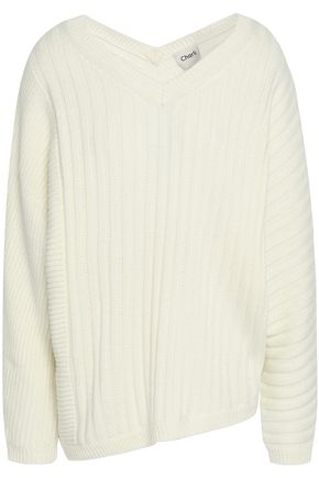 CHARLI Asymmetric ribbed-knit sweater