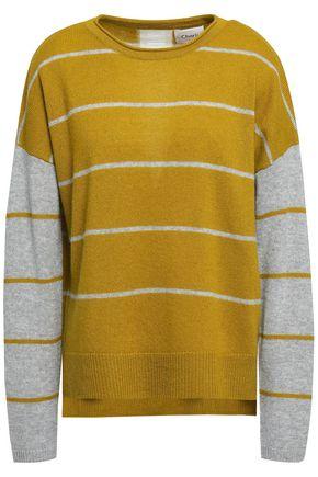 CHARLI Charlo lattice-trimmed striped cashmere sweater