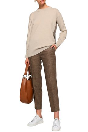 AGNONA Leather-trimmed two-tone cashmere sweater