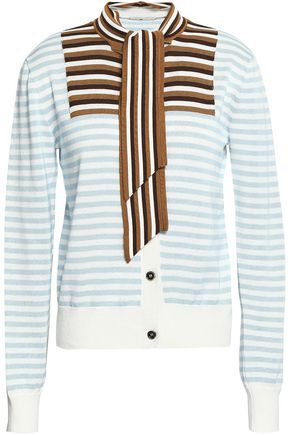 MARCO DE VINCENZO Striped intarsia cotton cardigan