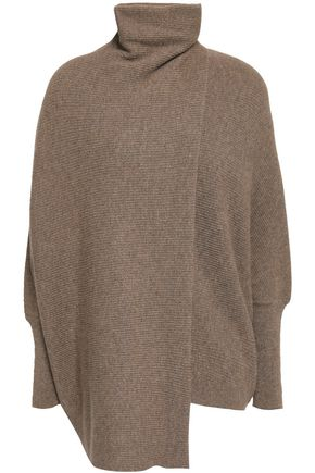 AGNONA Draped mélange cashmere turtleneck sweater
