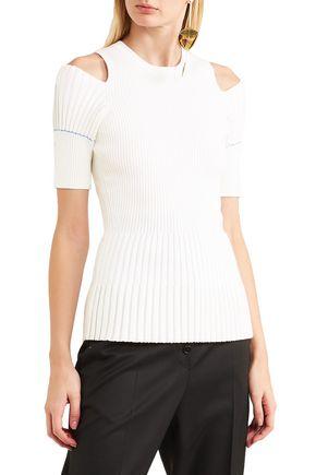 VICTORIA BECKHAM Cold-shoulder ribbed-knit wool-blend top