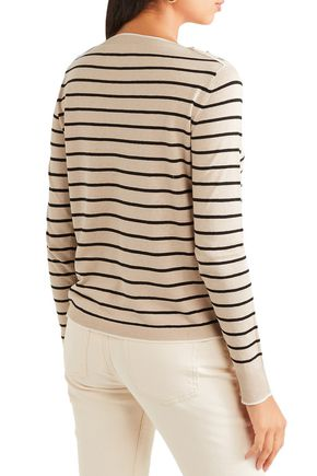 MAX MARA Alghero embellished striped silk and linen-blend sweater