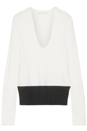 Narciso Rodriguez Woman Two-tone Wool And Cashmere-blend Sweater Off-white Size 40