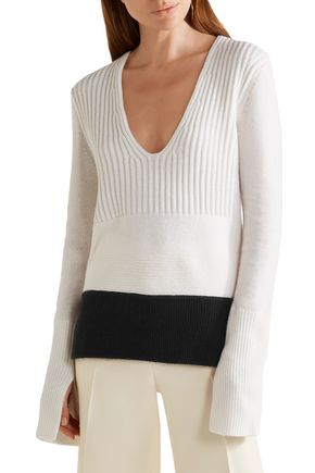 NARCISO RODRIGUEZ Two-tone wool and cashmere-blend sweater