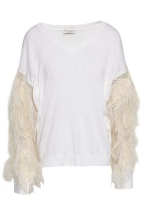 BRUNELLO CUCINELLI Feather and organza-paneled cotton top