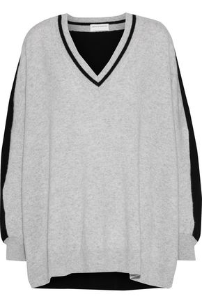 AMANDA WAKELEY Oversized two-tone cashmere sweater