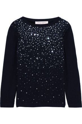 CAROLINA HERRERA Embellished cashmere and silk-blend sweater