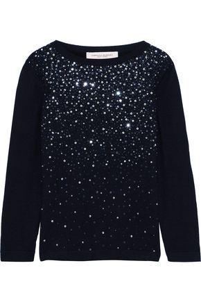 CAROLINA HERRERA Embellished cashmere and silk-blend sweater