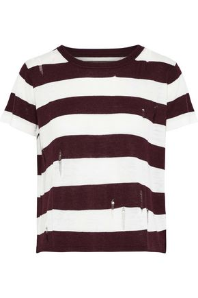 ENZA COSTA Distressed striped stretch-knit T-shirt
