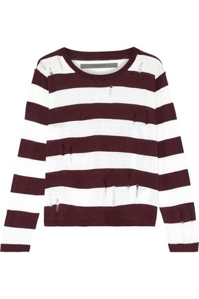 ENZA COSTA Distressed striped knitted sweater
