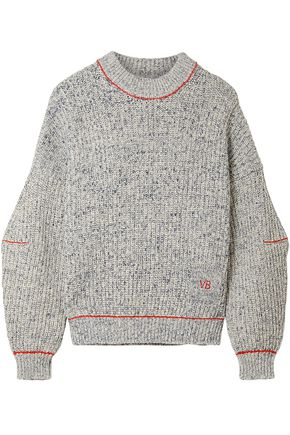 VICTORIA BECKHAM Marled cotton and wool-blend sweater