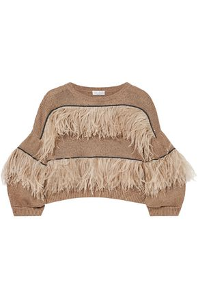 BRUNELLO CUCINELLI Feather-trimmed embellished cotton, linen and silk-blend sweater