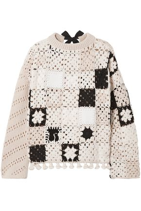 ALTUZARRA Tasseled leather-trimmed crochet-knit wool sweater
