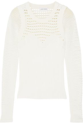 NARCISO RODRIGUEZ Paneled open and ribbed-knit sweater