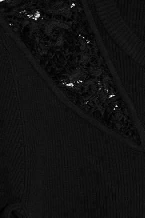 A.L.C. Terence lace-paneled ribbed wool-blend sweater