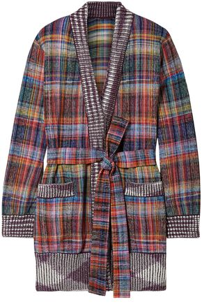 MISSONI Belted jacquard-knit cotton-blend cardigan