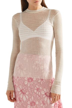CALVIN KLEIN 205W39NYC Embroidered open-knit wool-blend sweater