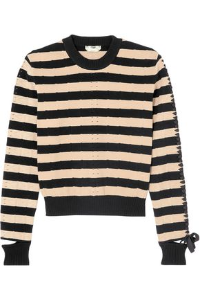 FENDI Lace-up striped stretch-knit sweater