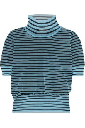 FENDI Striped silk-blend turtleneck top